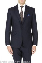 DUCHAMP Navy Polkadot 100% Italian Wool Suit BNWT IT46 UK36 rrp £750